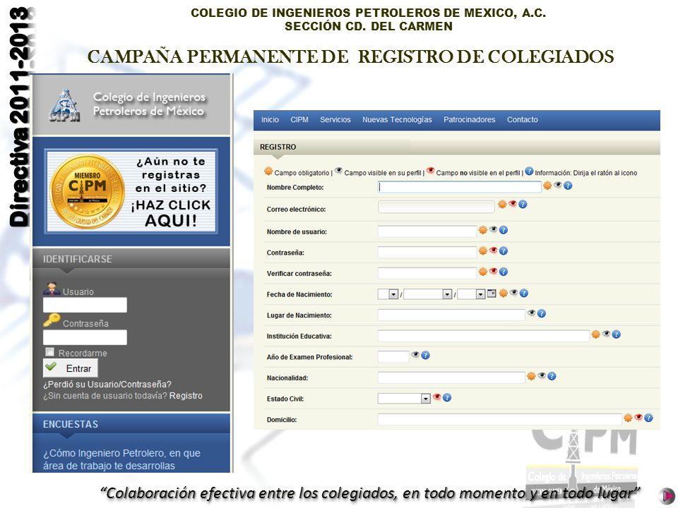 CAMPAÑA PERMANENTE DE REGISTRO DE COLEGIADOS
