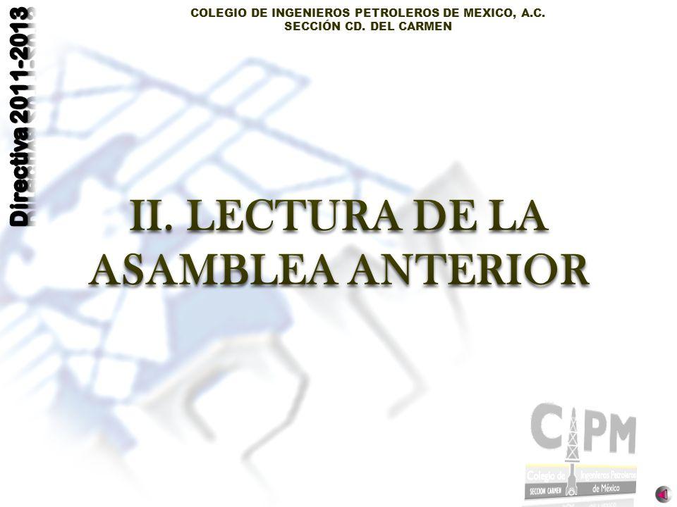 LECTURA DE LA ASAMBLEA ANTERIOR