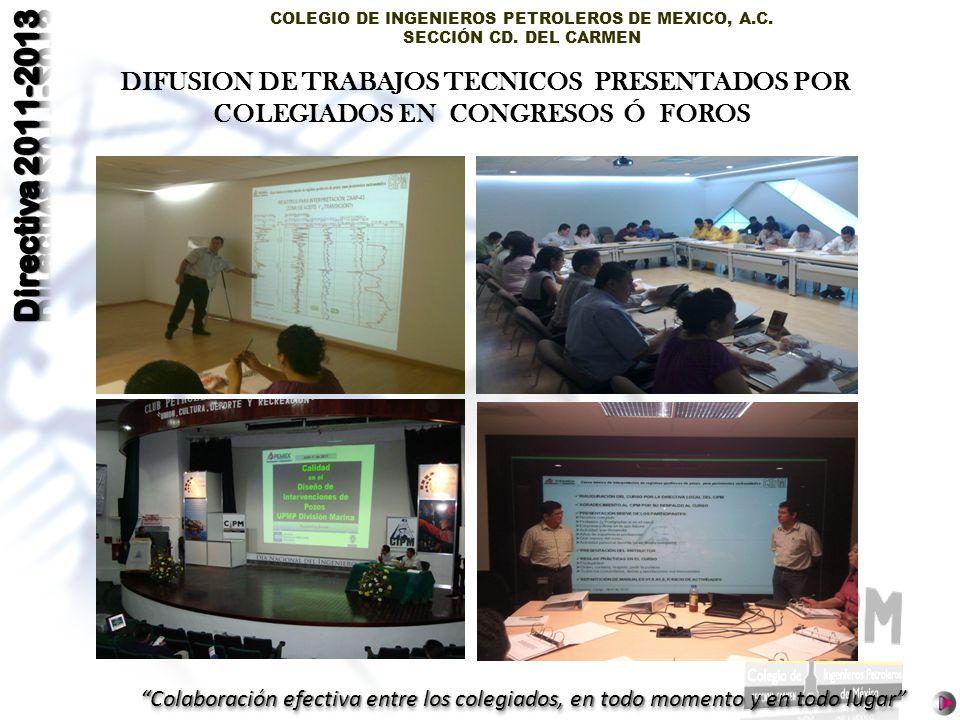 DIFUSION DE TRABAJOS TECNICOS PRESENTADOS POR COLEGIADOS EN CONGRESOS Ó FOROS
