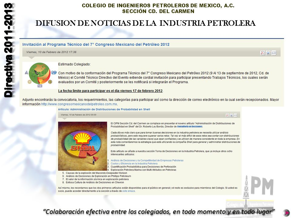 DIFUSION DE NOTICIAS DE LA INDUSTRIA PETROLERA