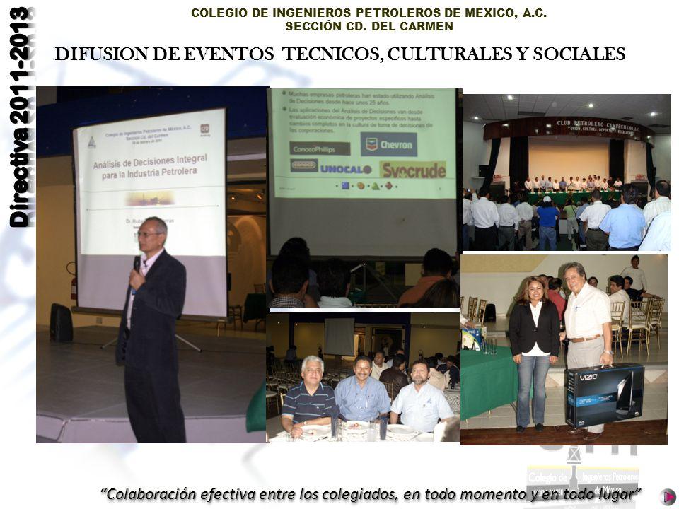DIFUSION DE EVENTOS TECNICOS, CULTURALES Y SOCIALES