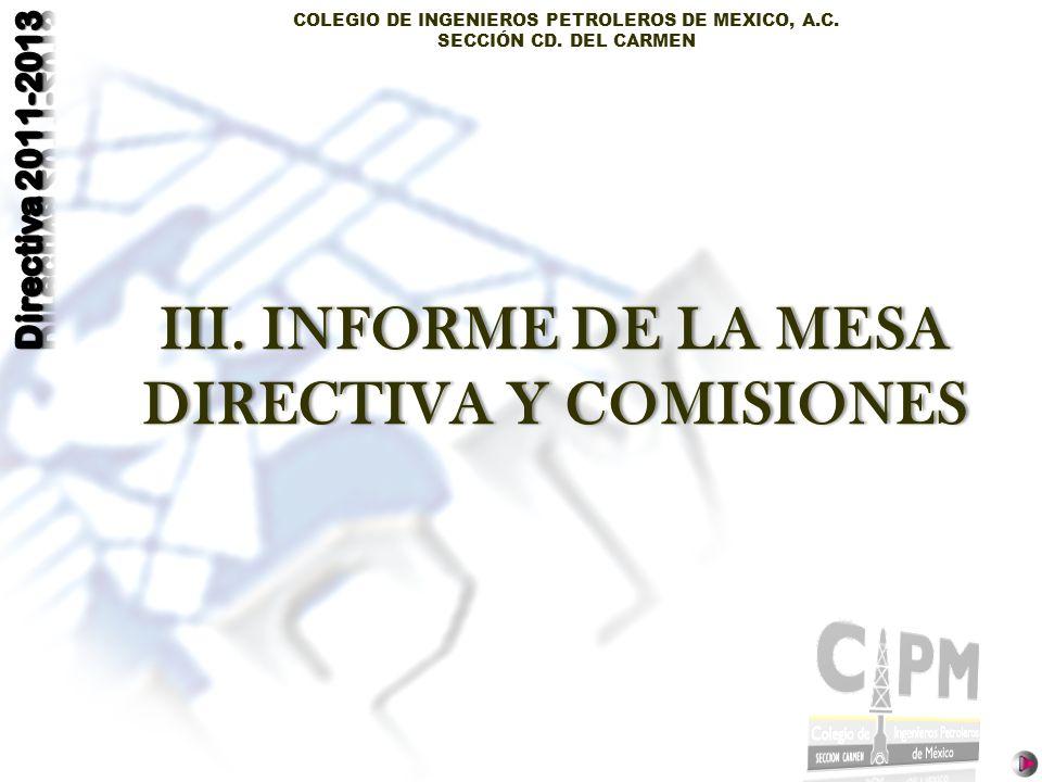 INFORME DE LA MESA DIRECTIVA Y COMISIONES