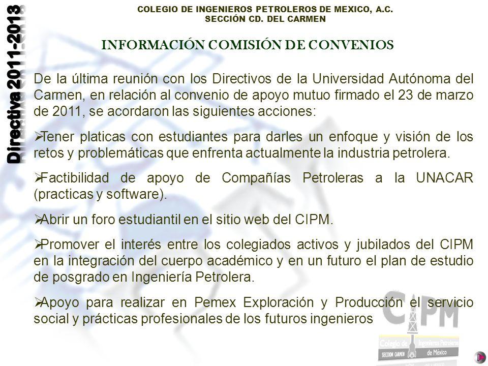 INFORMACIÓN COMISIÓN DE CONVENIOS