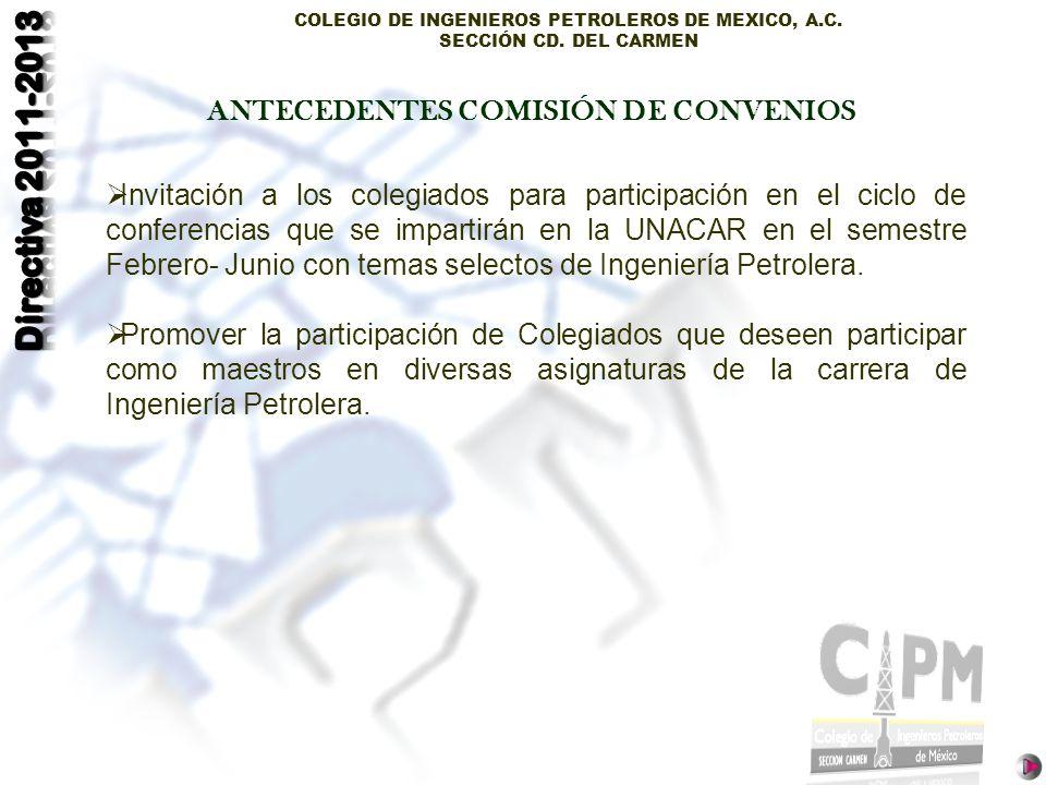 ANTECEDENTES COMISIÓN DE CONVENIOS