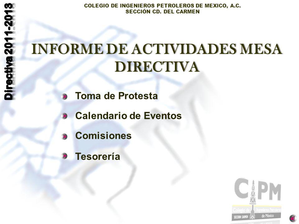 INFORME DE ACTIVIDADES MESA DIRECTIVA