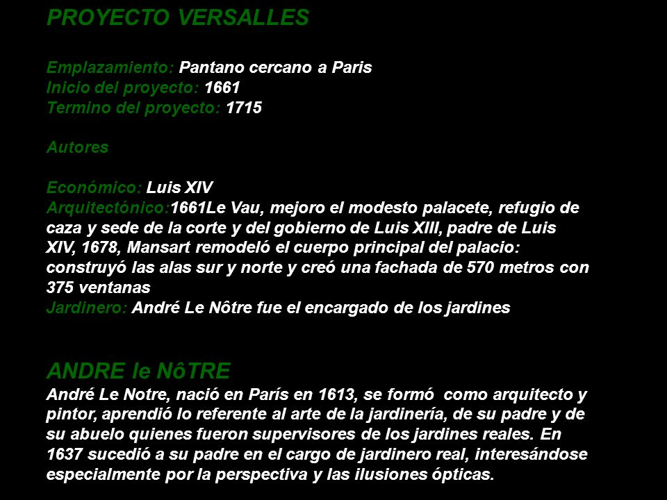 PROYECTO VERSALLES ANDRE le NôTRE