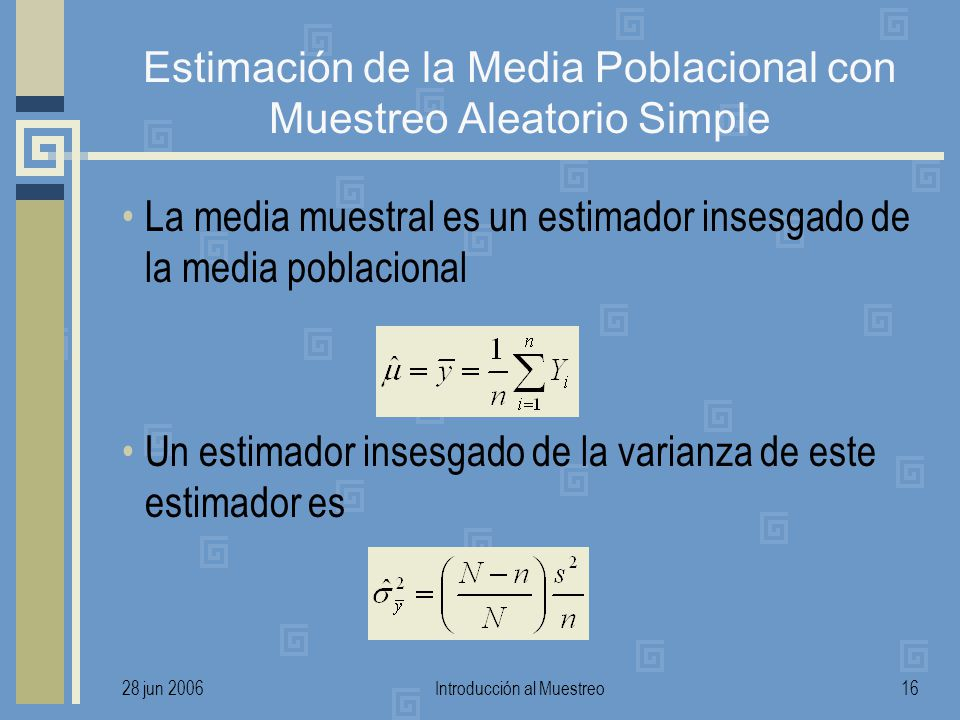 Estimación de la Media Poblacional con Muestreo Aleatorio Simple