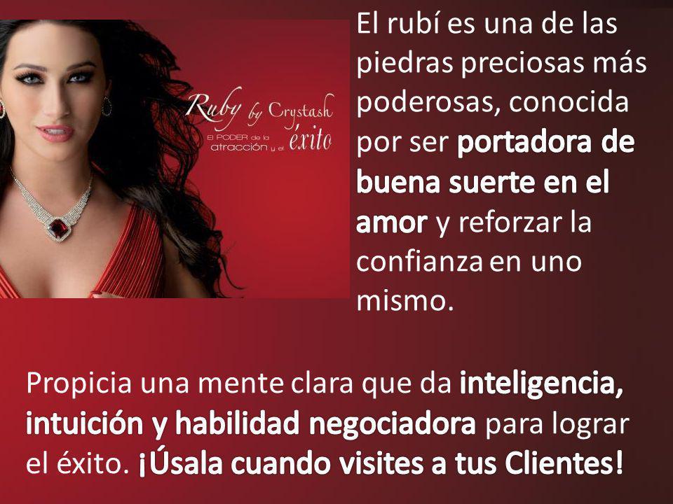 El rubí es una de las piedras preciosas más poderosas, conocida por ser portadora de buena suerte en el amor y reforzar la confianza en uno mismo.
