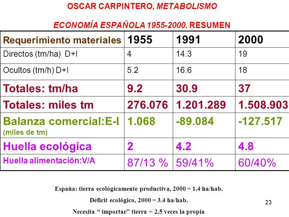 OSCAR CARPINTERO, METABOLISMO ECONOMÍA ESPAÑOLA 1955-2000. RESUMEN