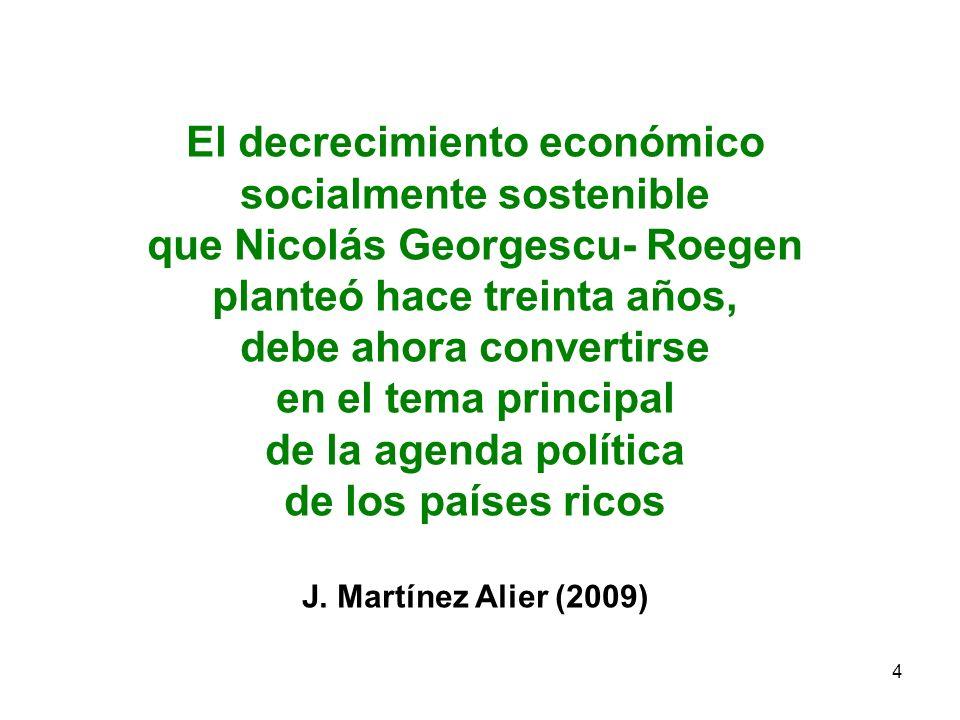 El decrecimiento económico socialmente sostenible