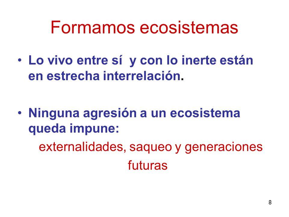 Formamos ecosistemas Lo vivo entre sí y con lo inerte están en estrecha interrelación. Ninguna agresión a un ecosistema queda impune: