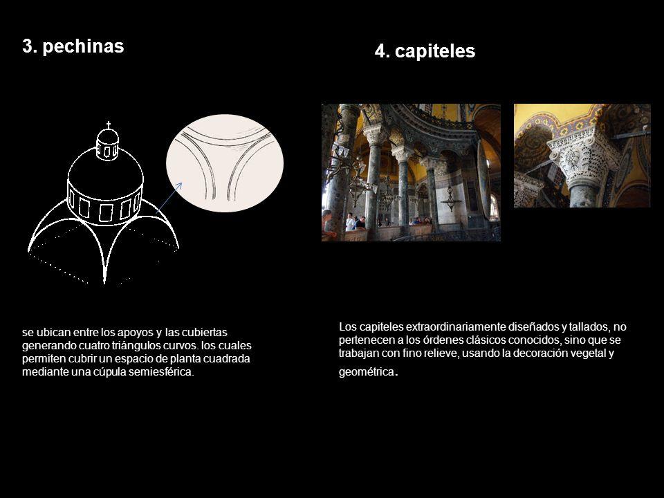 3. pechinas 4. capiteles.