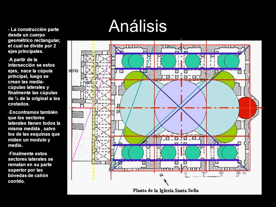 Análisis - La construcción parte desde un cuerpo geométrico rectangular, el cual se divide por 2 ejes principales.