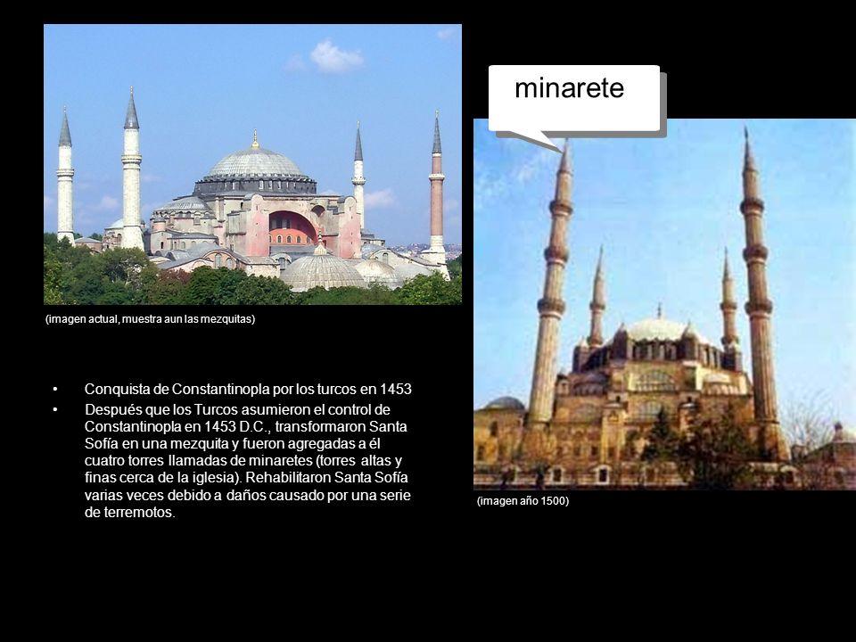 mezquita minarete Conquista de Constantinopla por los turcos en 1453