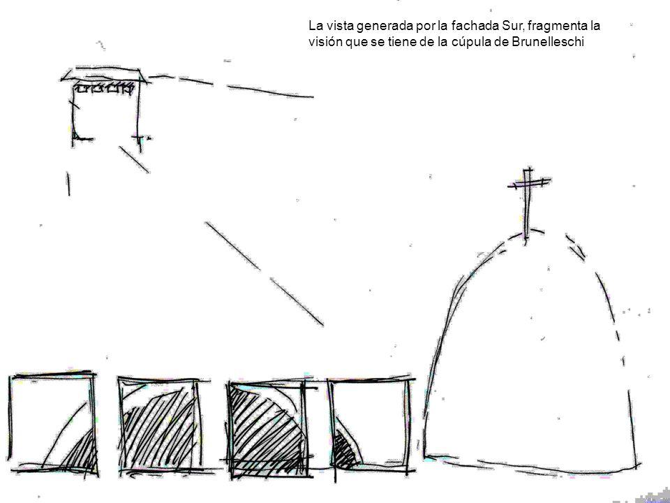 La vista generada por la fachada Sur, fragmenta la visión que se tiene de la cúpula de Brunelleschi