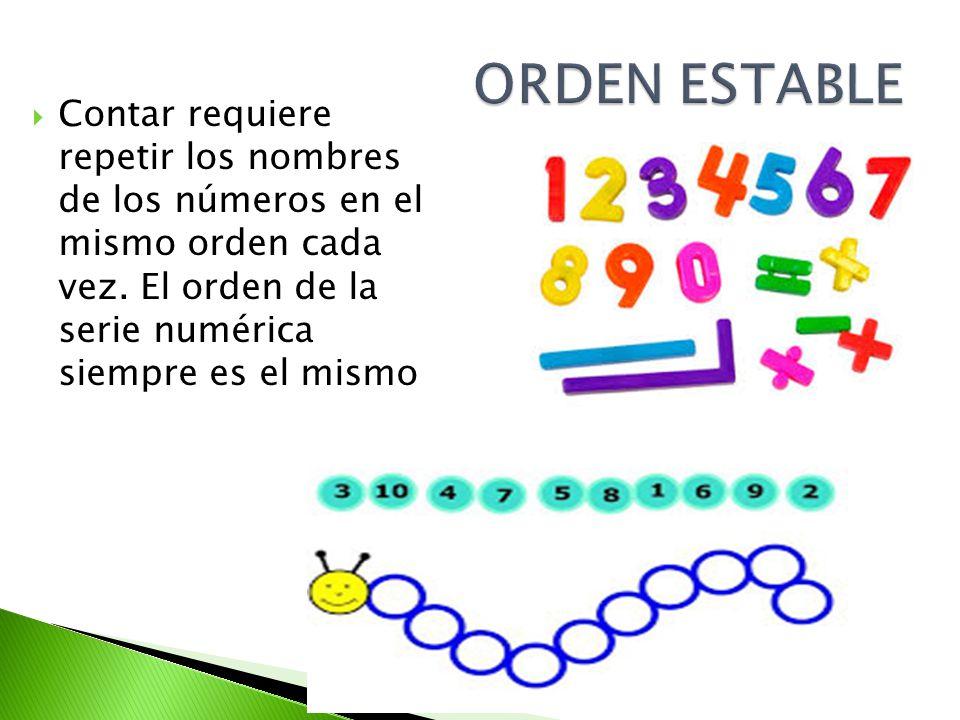 ORDEN ESTABLE Contar requiere repetir los nombres de los números en el mismo orden cada vez.