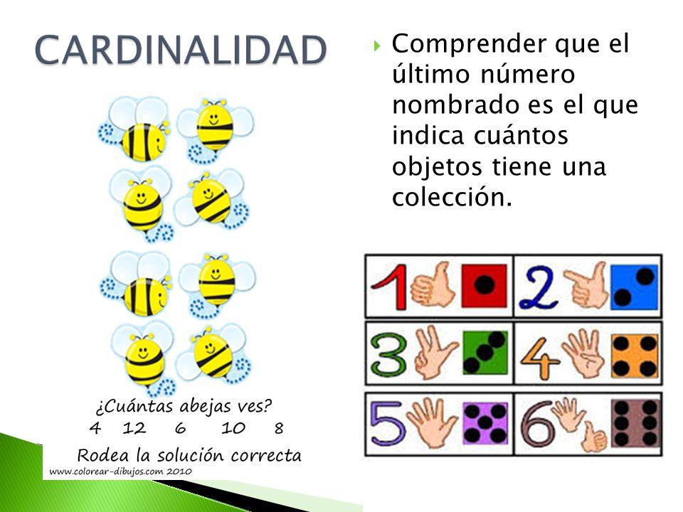 CARDINALIDAD Comprender que el último número nombrado es el que indica cuántos objetos tiene una colección.