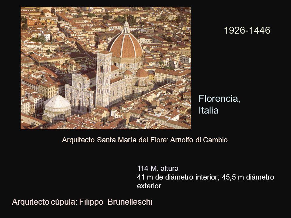 1926-1446 Florencia, Italia Arquitecto cúpula: Filippo Brunelleschi