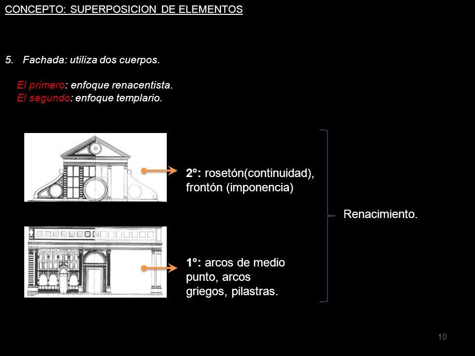 2°: rosetón(continuidad), frontón (imponencia)