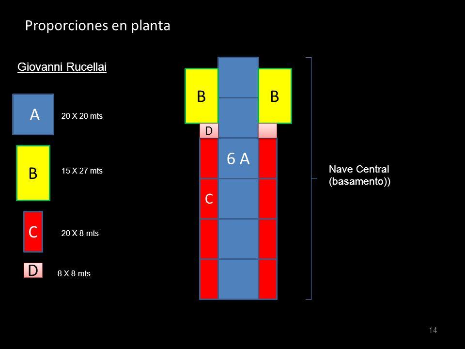B B A 6 A B C D Proporciones en planta C D Giovanni Rucellai