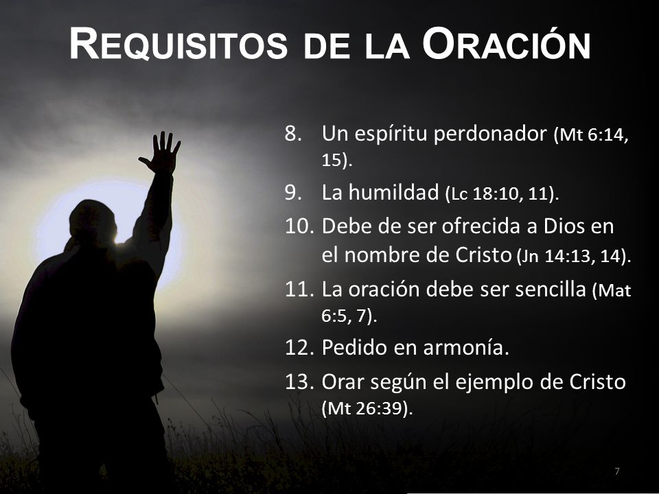 Requisitos de la Oración