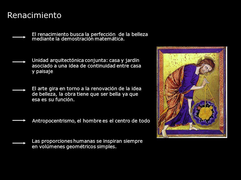 Renacimiento El renacimiento busca la perfección de la belleza mediante la demostración matemática.