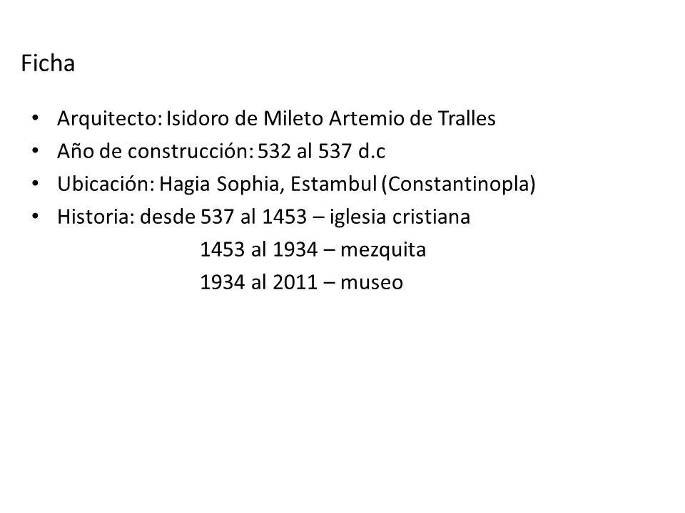 Ficha Arquitecto: Isidoro de Mileto Artemio de Tralles