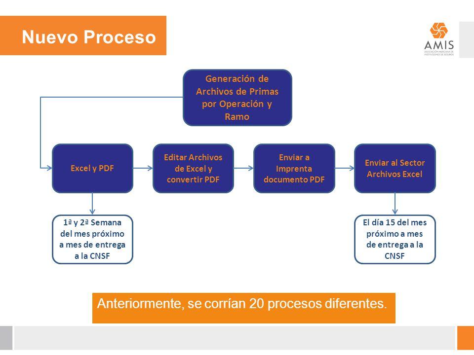 Nuevo Proceso Anteriormente, se corrían 20 procesos diferentes.