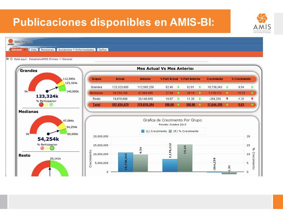 Publicaciones disponibles en AMIS-BI:
