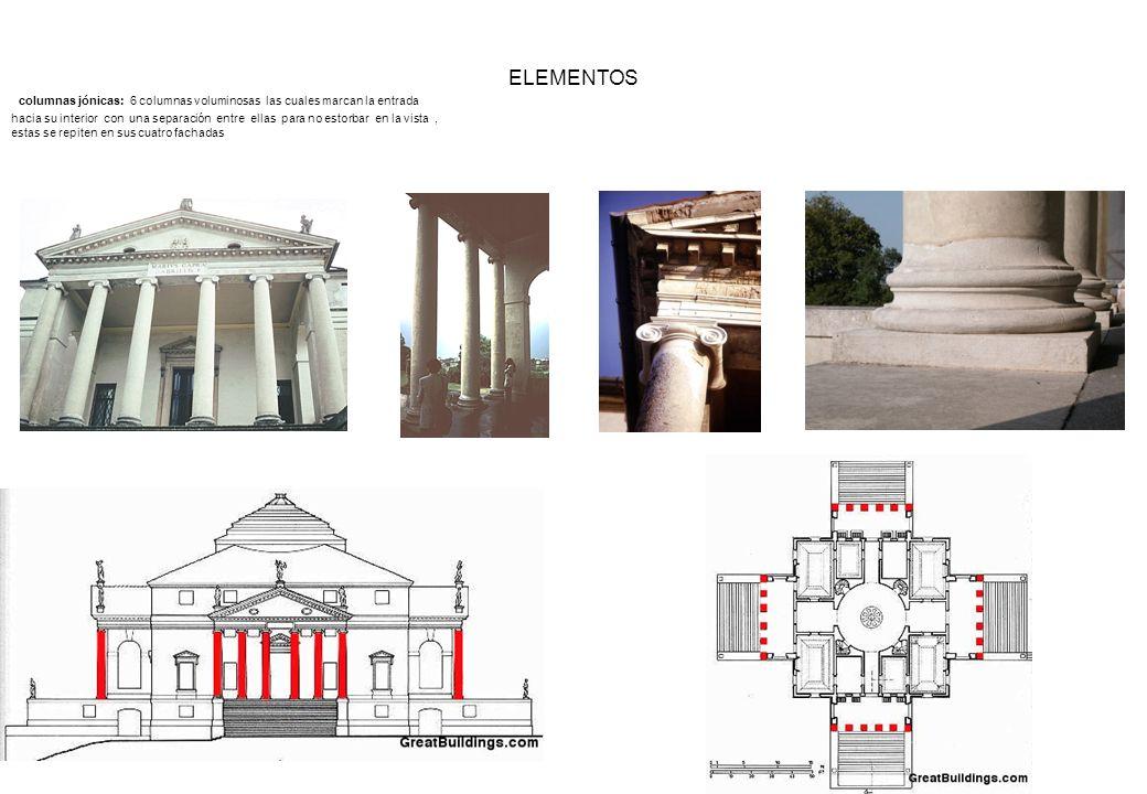 columnas jónicas: 6 columnas voluminosas las cuales marcan la entrada