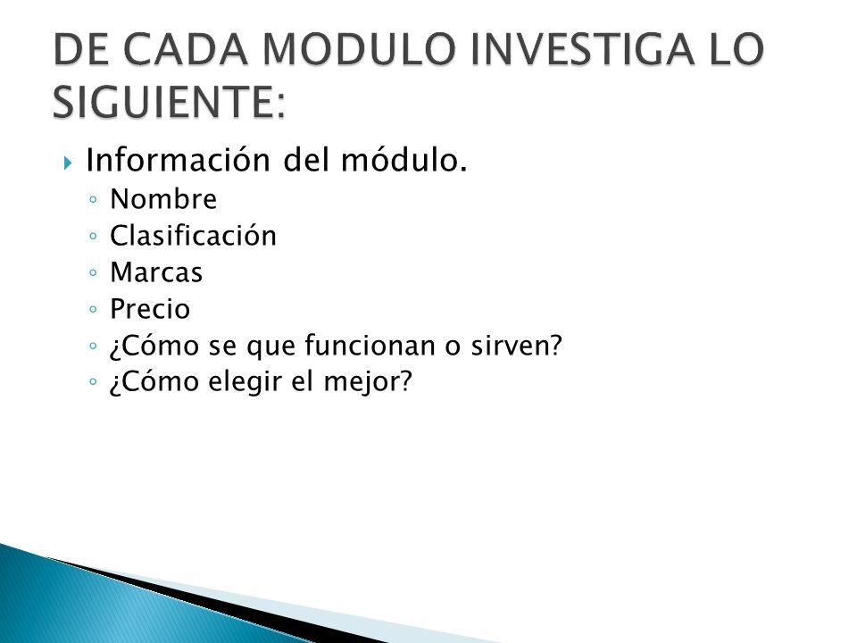 DE CADA MODULO INVESTIGA LO SIGUIENTE: