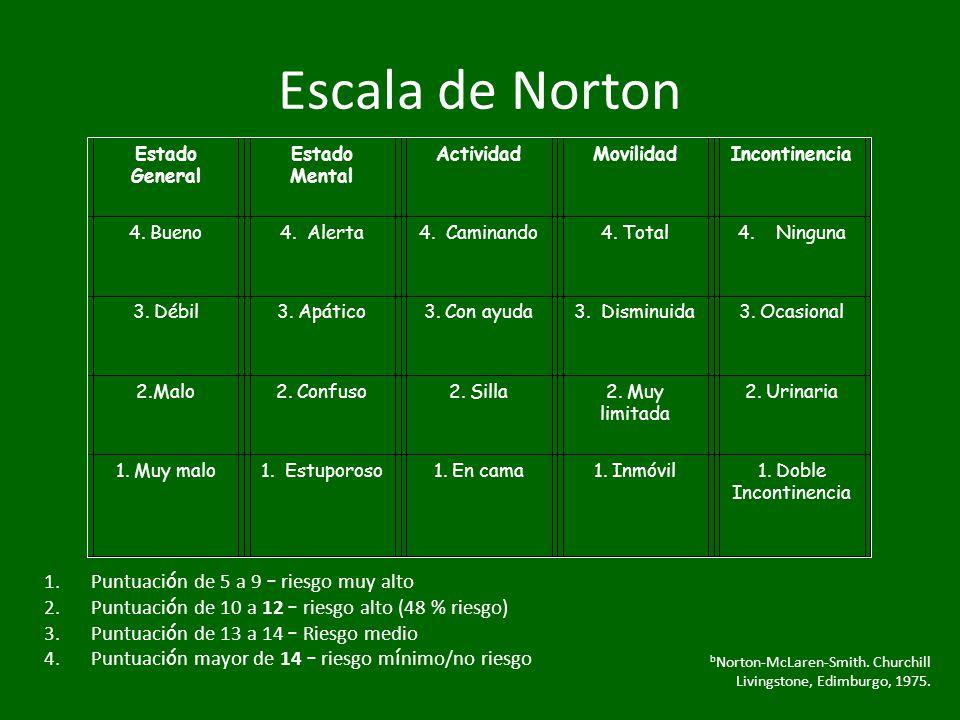 Escala de Norton Puntuación de 5 a 9 – riesgo muy alto