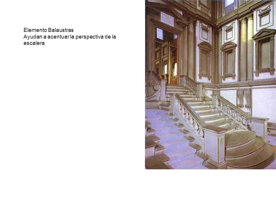Elemento Balaustras Ayudan a acentuar la perspectiva de la escalera