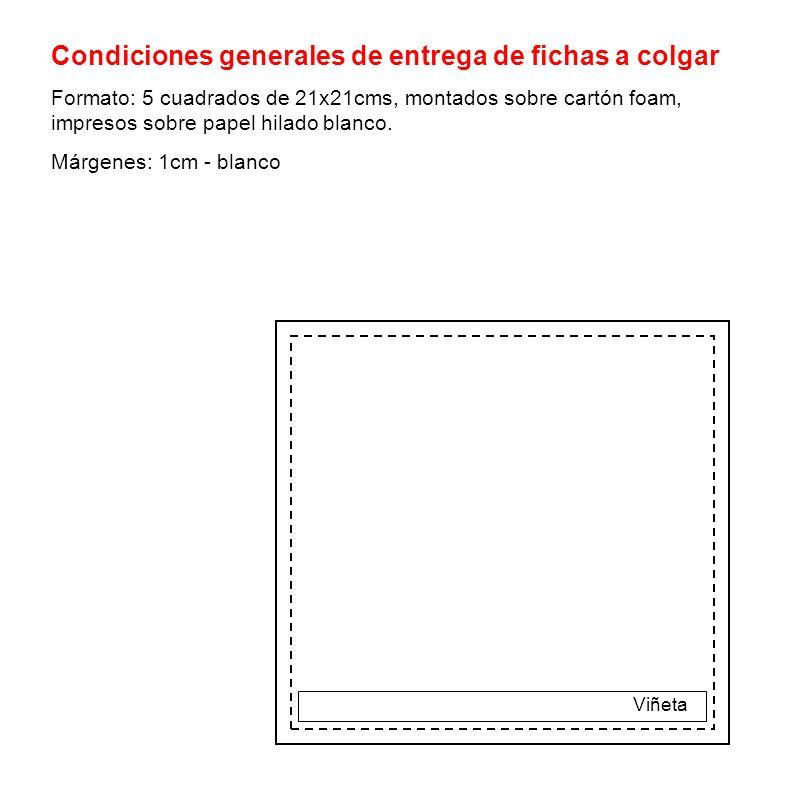 Condiciones generales de entrega de fichas a colgar