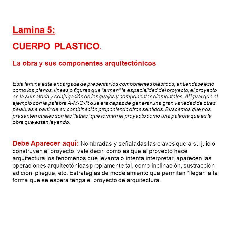 Lamina 5: CUERPO PLASTICO. La obra y sus componentes arquitectónicos