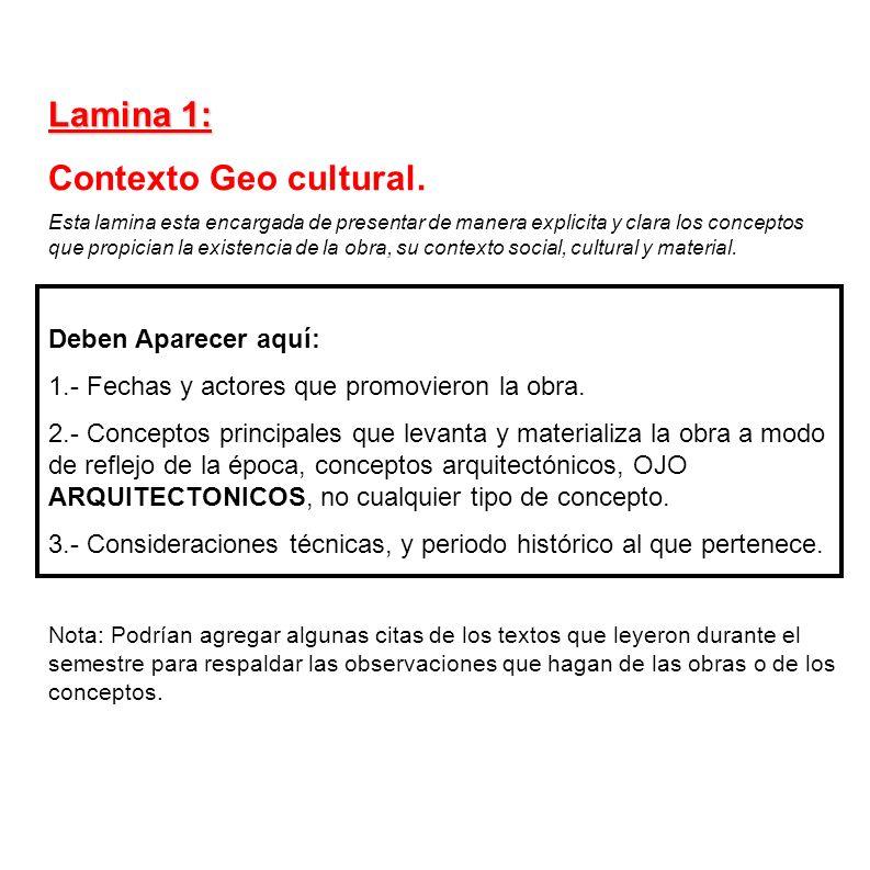 Lamina 1: Contexto Geo cultural. Deben Aparecer aquí: