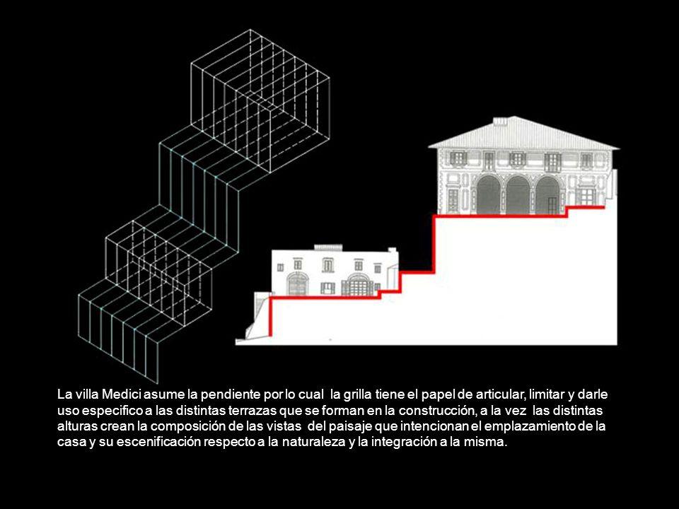 La villa Medici asume la pendiente por lo cual la grilla tiene el papel de articular, limitar y darle uso especifico a las distintas terrazas que se forman en la construcción, a la vez las distintas alturas crean la composición de las vistas del paisaje que intencionan el emplazamiento de la casa y su escenificación respecto a la naturaleza y la integración a la misma.