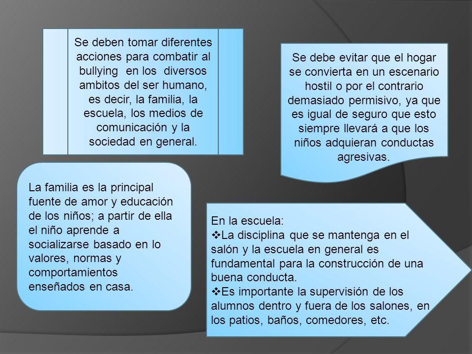 Se deben tomar diferentes acciones para combatir al bullying en los diversos ambitos del ser humano, es decir, la familia, la escuela, los medios de comunicación y la sociedad en general.