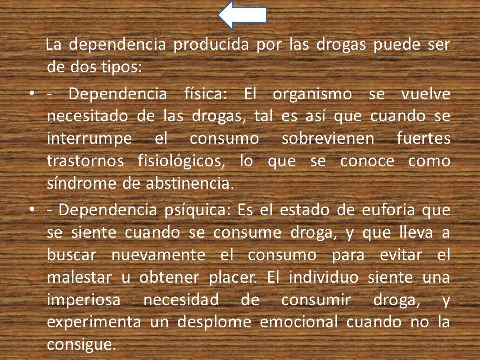 La dependencia producida por las drogas puede ser de dos tipos: