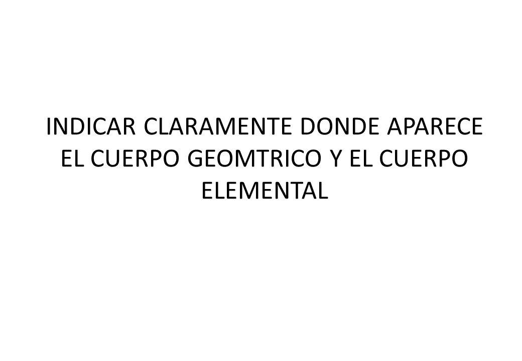 INDICAR CLARAMENTE DONDE APARECE EL CUERPO GEOMTRICO Y EL CUERPO ELEMENTAL