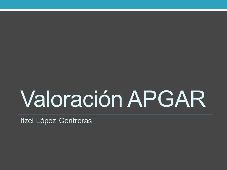 Valoración APGAR Itzel López Contreras
