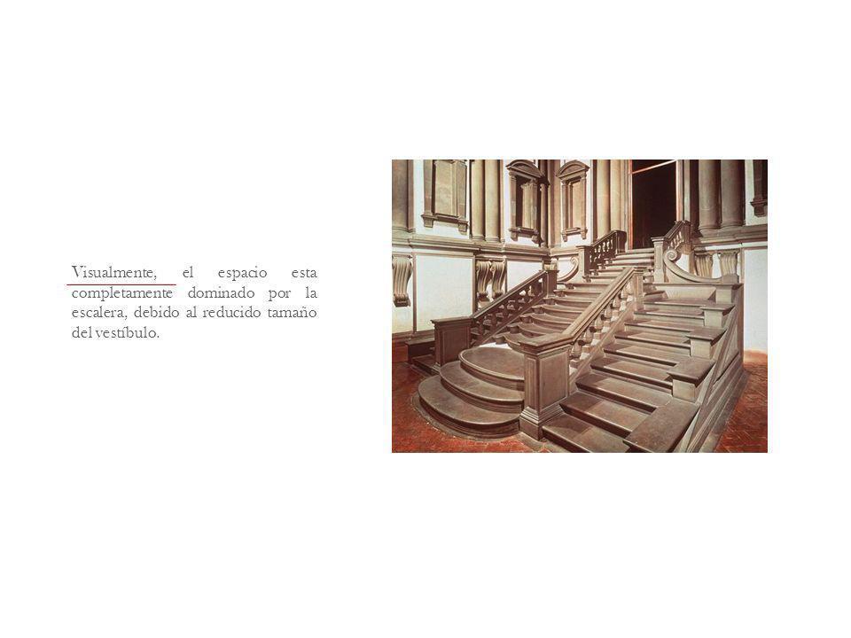 Visualmente, el espacio esta completamente dominado por la escalera, debido al reducido tamaño del vestíbulo.