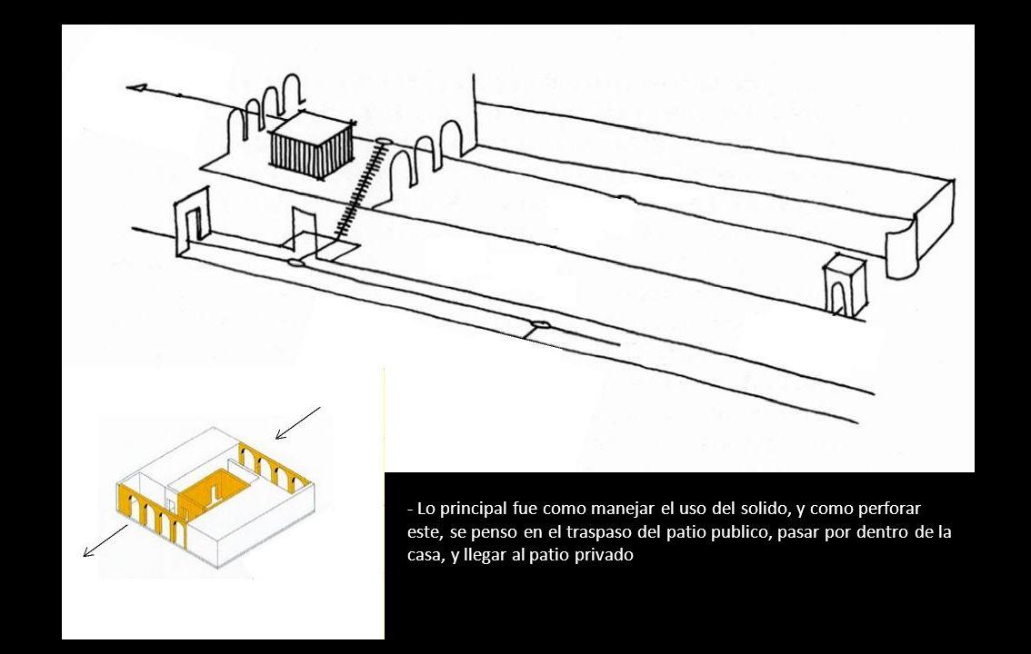 - Lo principal fue como manejar el uso del solido, y como perforar este, se penso en el traspaso del patio publico, pasar por dentro de la casa, y llegar al patio privado