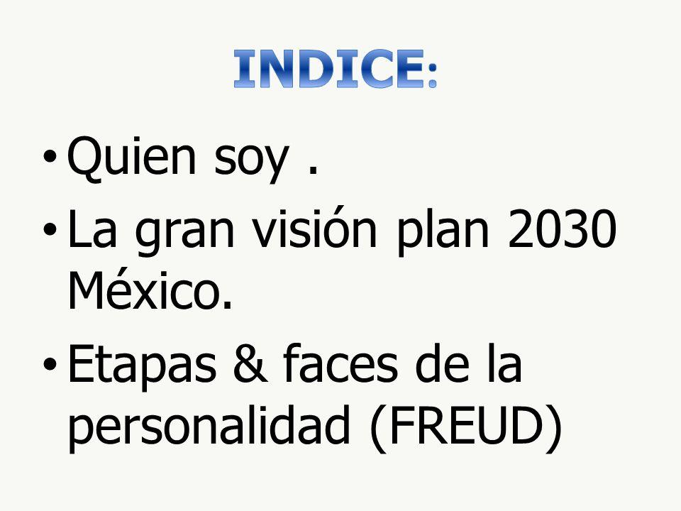 INDICE: Quien soy . La gran visión plan 2030 México. Etapas & faces de la personalidad (FREUD)