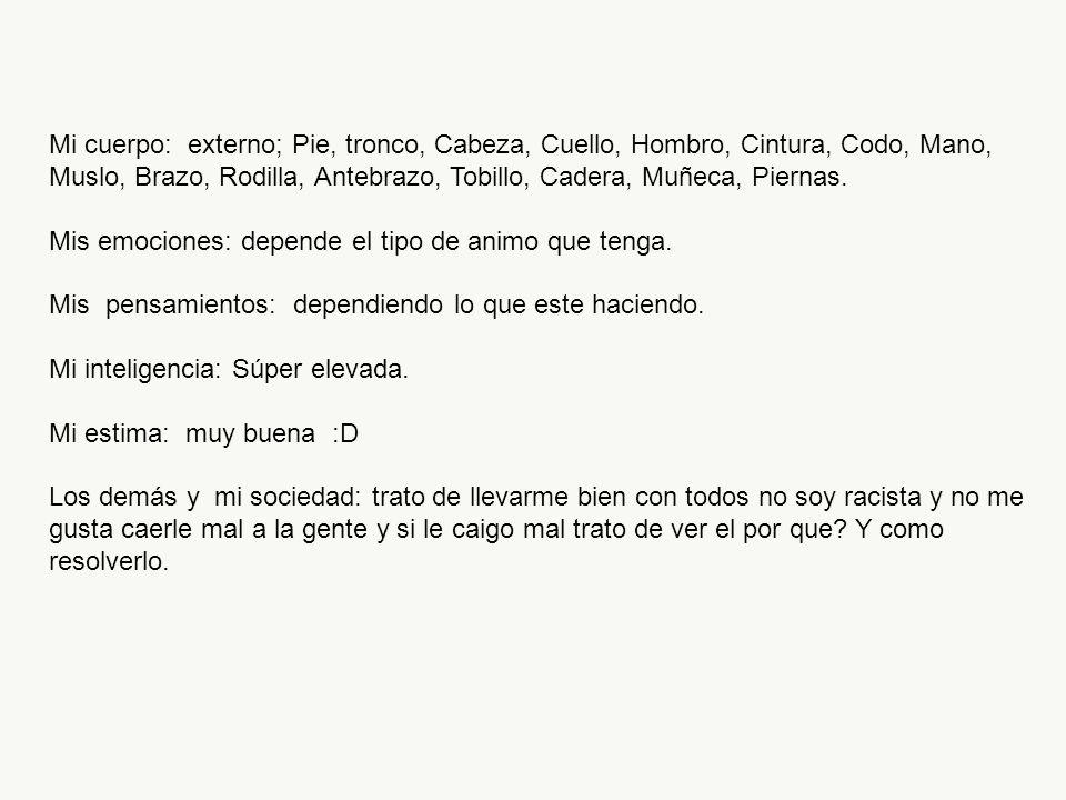 Mi cuerpo: externo; Pie, tronco, Cabeza, Cuello, Hombro, Cintura, Codo, Mano, Muslo, Brazo, Rodilla, Antebrazo, Tobillo, Cadera, Muñeca, Piernas.