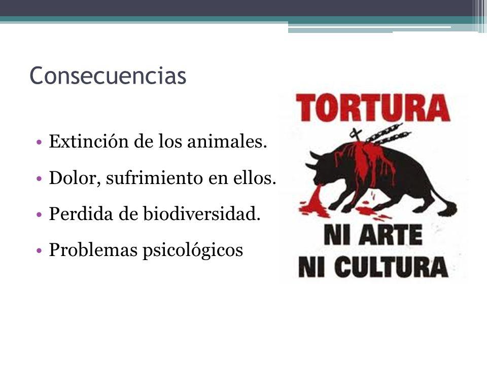 Consecuencias Extinción de los animales. Dolor, sufrimiento en ellos.