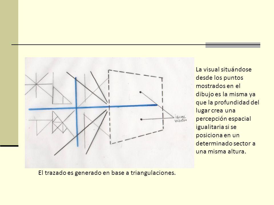 La visual situándose desde los puntos mostrados en el dibujo es la misma ya que la profundidad del lugar crea una percepción espacial igualitaria si se posiciona en un determinado sector a una misma altura.