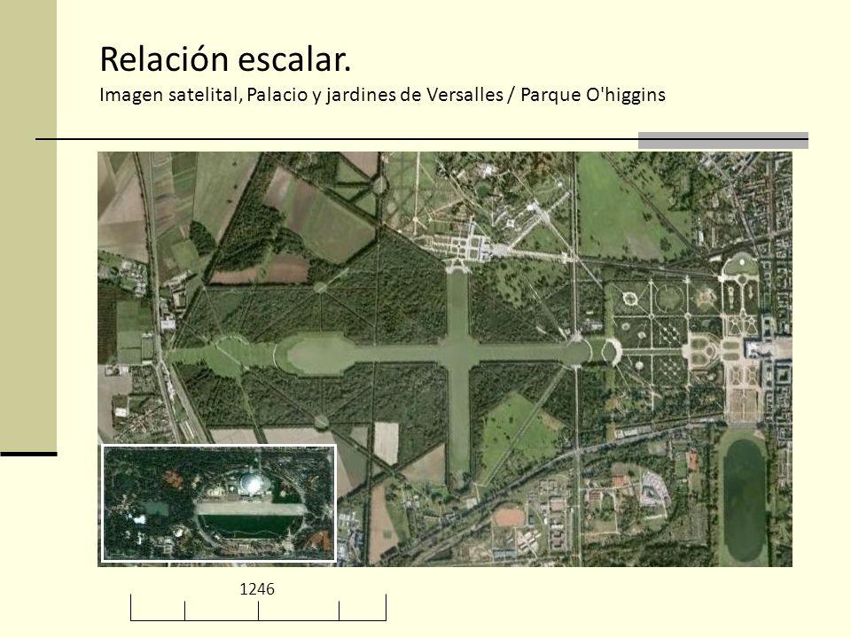 Relación escalar. Imagen satelital, Palacio y jardines de Versalles / Parque O higgins 1246