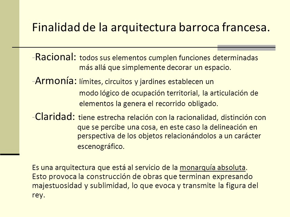 Finalidad de la arquitectura barroca francesa.