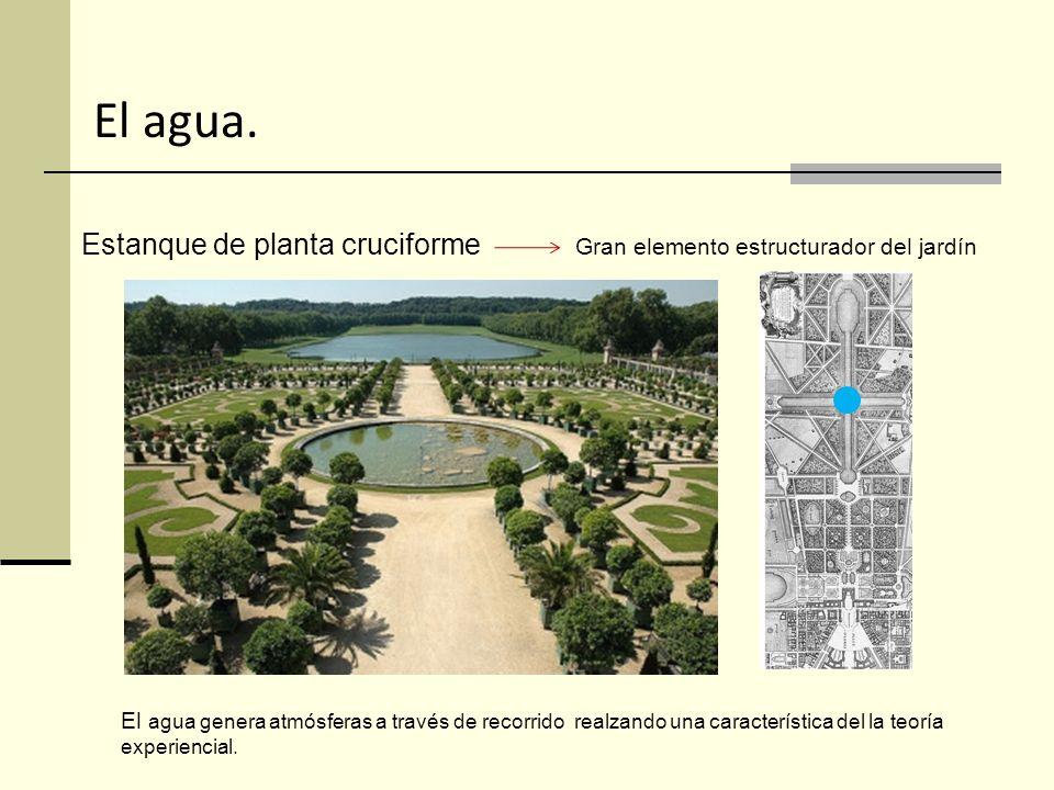 El agua. Estanque de planta cruciforme Gran elemento estructurador del jardín.